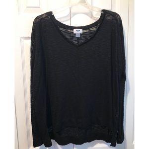 Old  Navy | Sheer Black Long Sleeve Sweater